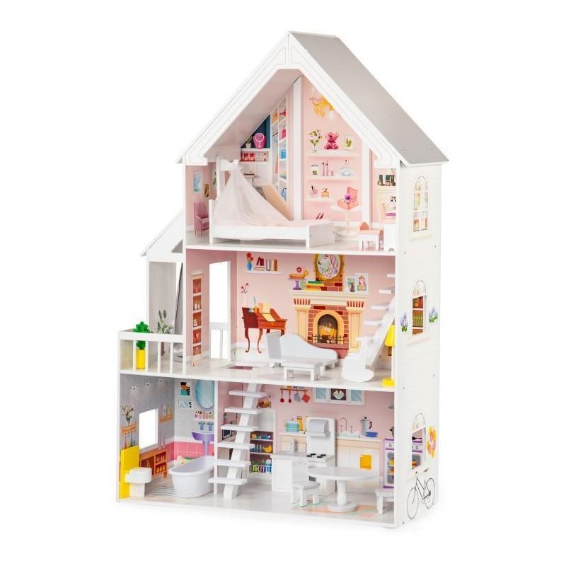 Drewniany domek dla lalek xxl Rezydencja pudrowa