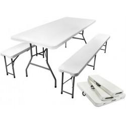 Stół ogrodowy cateringowy składany 180cm + 2 ławki