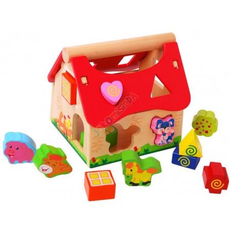 Drewniany domek + zwierzątka SORTER