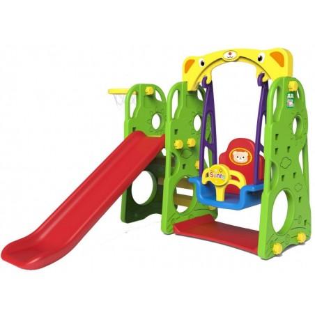 Plac zabaw 3w1 Zjeżdżalnia + Huśtawka + Koszykówka + Ścianka wspinaczkowa