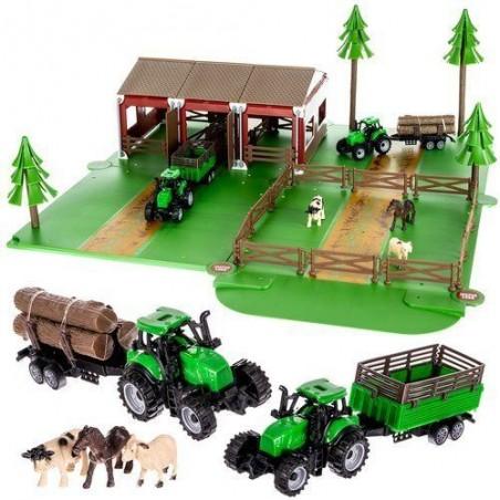 Farma ze zwierzętami + 2 traktory z przyczepami