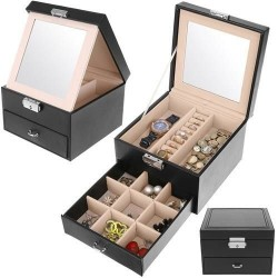 Kuferek Szkatułka na biżuterię K8898 - czarny