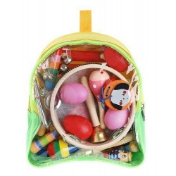 Instrumenty muzyczne drewniane w plecaczku