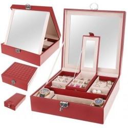 Kuferek Szkatułka na biżuterię 8891 - bordowy