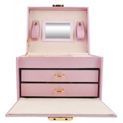 Szkatułka - Kuferek na biżuterię 20 przegródek różowy