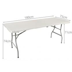 Stół cateringowy ogrodowy składany jasnoszary 180cm
