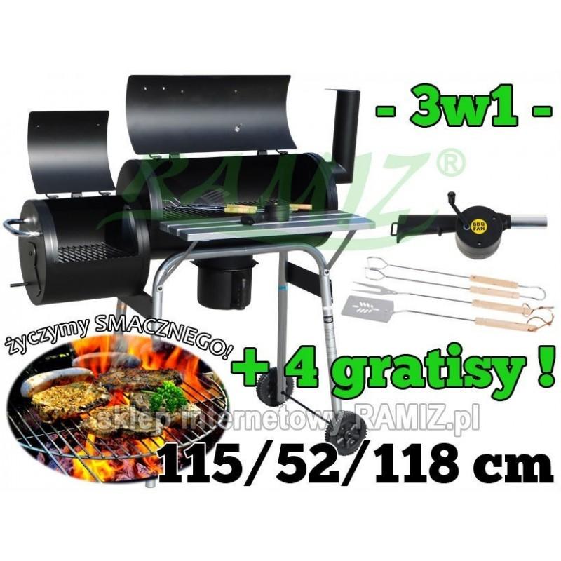 Duży Grill Ogrodowy 115 cm + WĘDZARNIA + 4 Gratisy