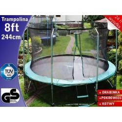 TRAMPOLINA 244 cm 8ft Drabinka + Pokrowiec + Ring