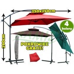 Parasol Ogrodowy Kwadratowy 250 x 250 cm + POKROWIEC