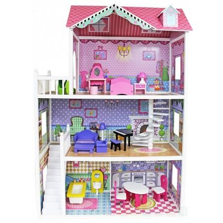 Ogromny drewniany domek dla lalek Barbie - 124 cm
