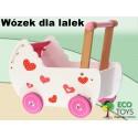 Drewniany wózek dla lalek ECOTOYS z pościelą