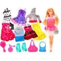 Lalka + Domek - Szafa z ubraniami - Garderoba + kot