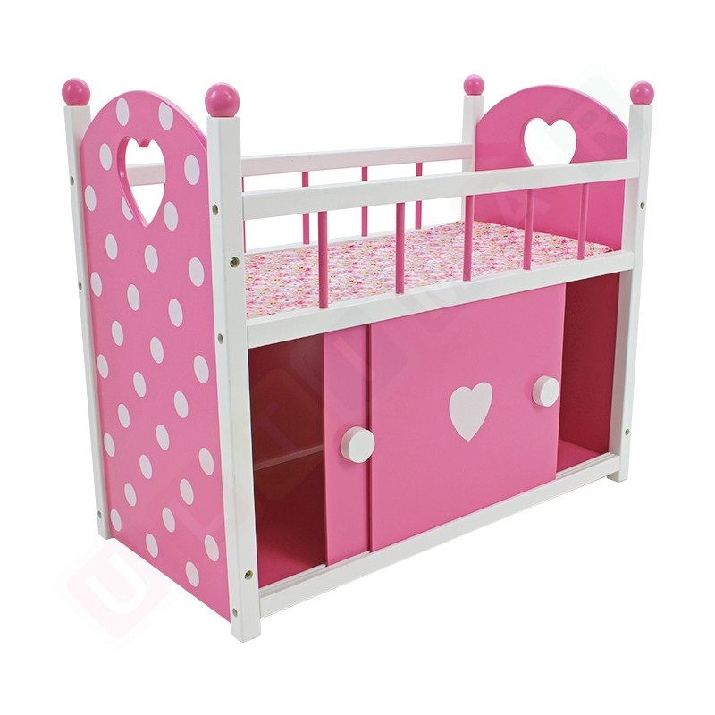 Drewniane łóżeczko dla lalek z szafką