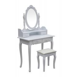 Drewniana Toaletka Kosmetyczna z Lustrem + Taboret