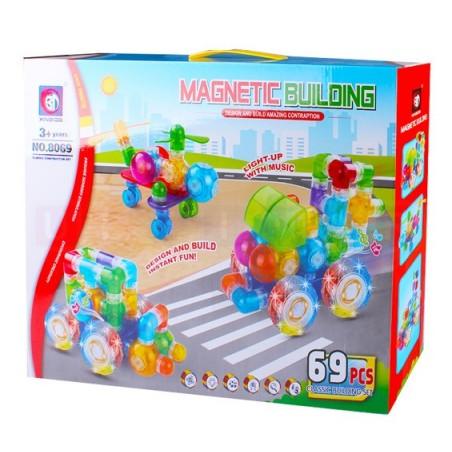 Klocki magnetyczne: 69 elementów: Pojazdy