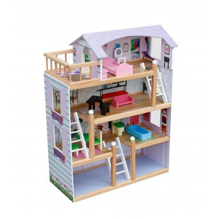 Drewniany Domek dla Lalek - LAURA - z Garażem