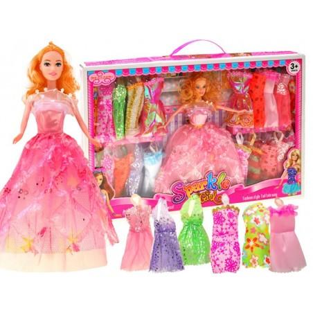 Lalka z zestawem sukni 21 sukienek ubranka