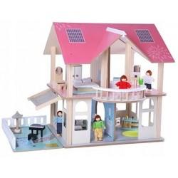 Drewniany Domek dla Lalek Meble + 4 Lalki