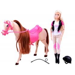 Lalka Anlily Dżokejka z koniem chodzący koń