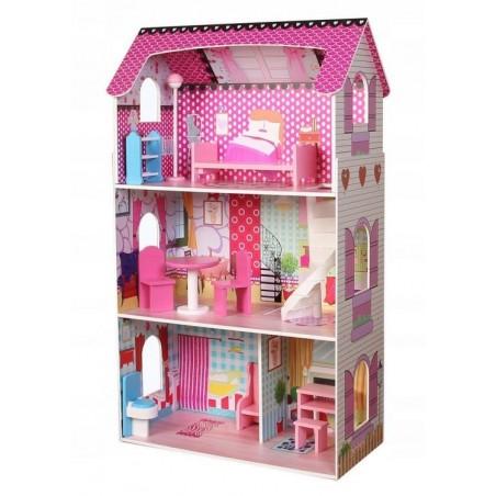 Drewniany domek dla lalek Rezydencja Poziomkowa 106 cm