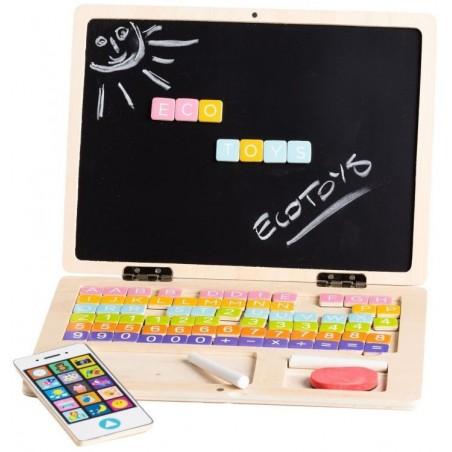 Drewniany laptop edukacyjny tablica magnetyczna