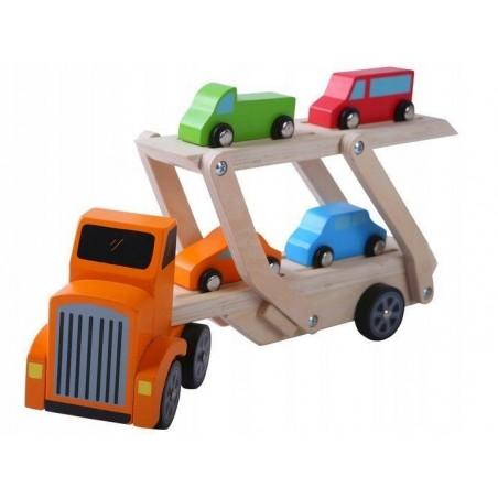 Drewniana Ciężarówka tir + 4 auta