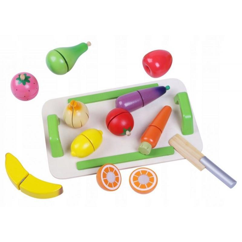 Drewniane warzywa i owoce Zestaw z deską
