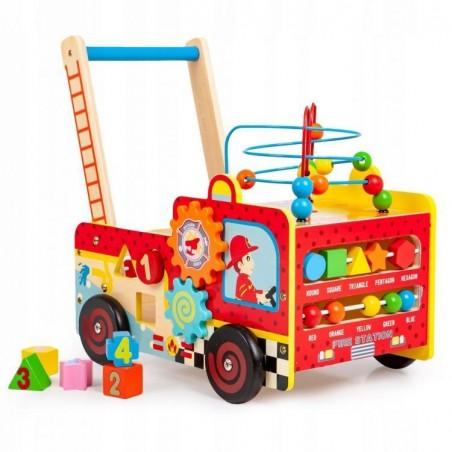 Drewniany pchacz edukacyjny straż pożarna + klocki