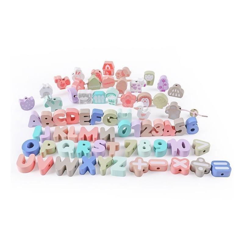 Drewniane klocki edukacyjne alfabet do nawlekania 80 elementów