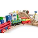 Drewniana kolejka tory pociąg na baterie 69 elementów