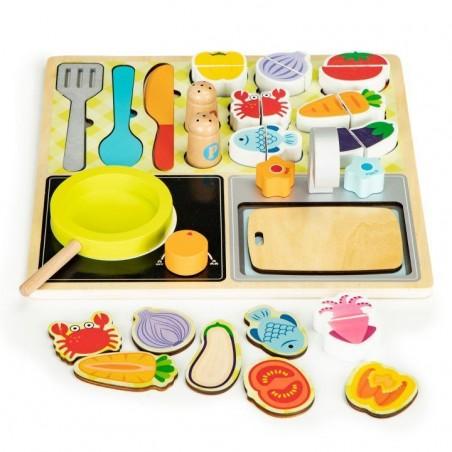 Drewniany zestaw kuchenny - akcesoria kuchenne dla dzieci