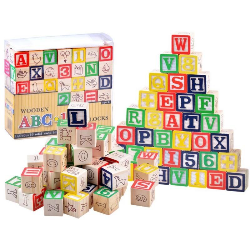 Klocki ABC drewniane litery i cyfry 50 el
