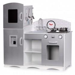 Drewniana kuchnia dla dzieci xxl 92 cm srebrna