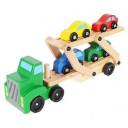 Tir drewniany - laweta + zestaw autek