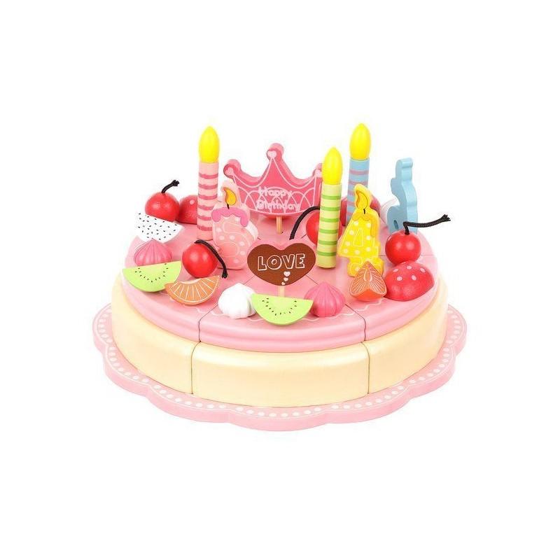 Tort urodzinowy drewniany dla dzieci