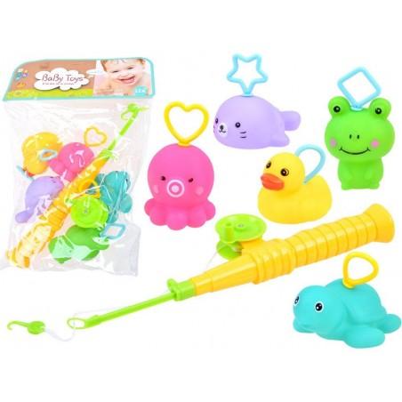 Gumowe zwierzątka wędka zabawka do kąpieli